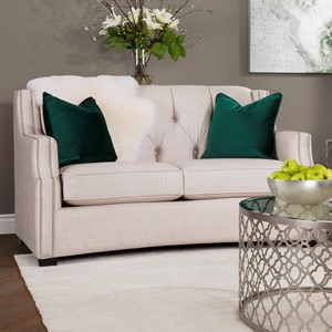 Transitional Tufted Loveseat with Scooped Arms and Nailheads
