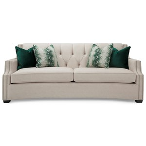 Transitional Tufted Sofa with Scooped Arms and Nailheads