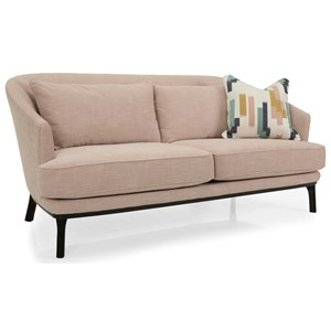 Contemporary Sofa with Tall Wood Legs