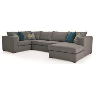 4-Piece Contemporary Sectional with RHF Chaise