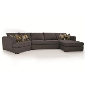 3-Piece Contemporary Sectional with LHF Cuddler