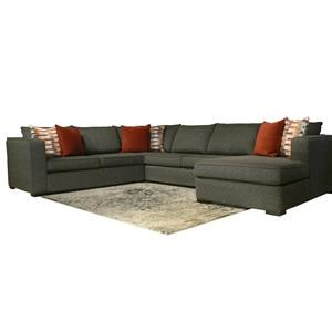 4-Piece Contemporary Sectional Sofa with Track Arms