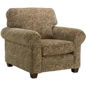 Classic Upholstered Chair with Rolled Arms