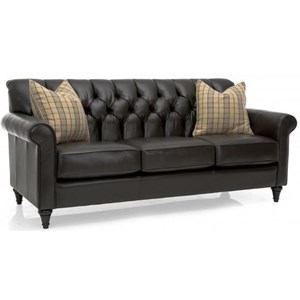 Traditional Sofa with Tufted Back and Turned Feet