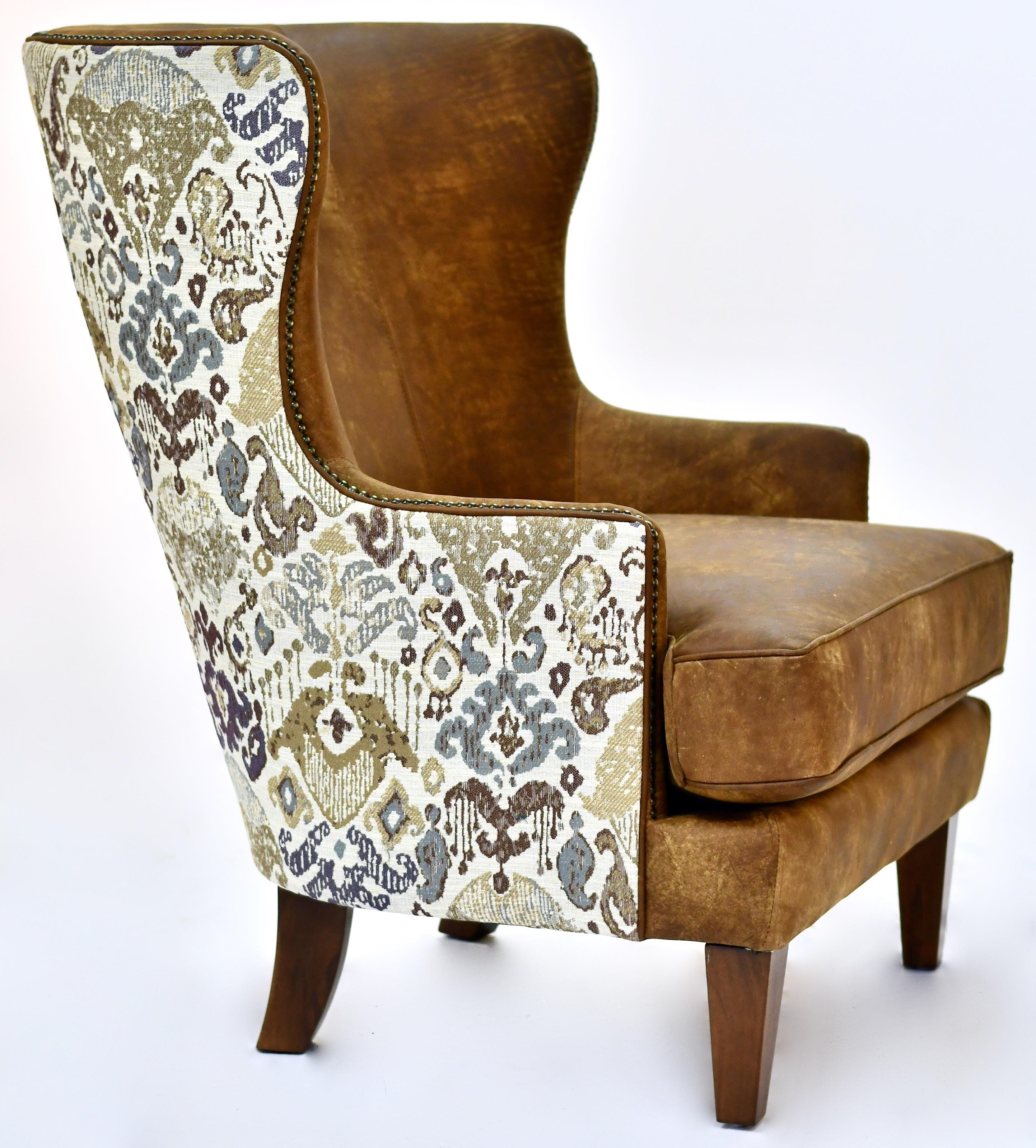 Mia Leather Wing Chair by Taelor Designs at Bennett's Furniture and Mattresses