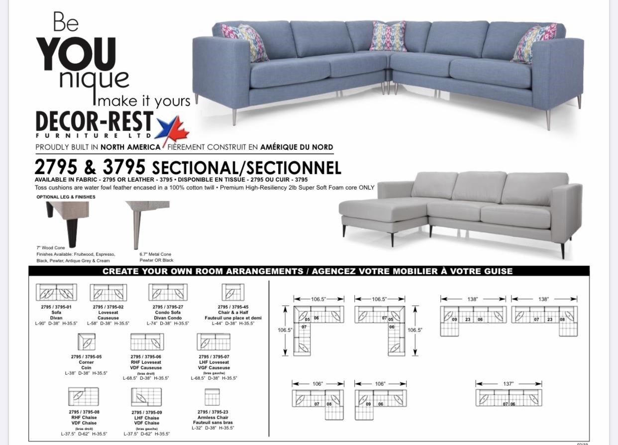 3795 Sectional Sofa by Decor-Rest at Stoney Creek Furniture