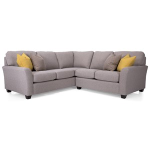 Casual Sectional Sofa with Flared Arms