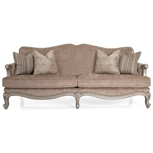 Traditional French Cabriole Sofa with Nailhead Border