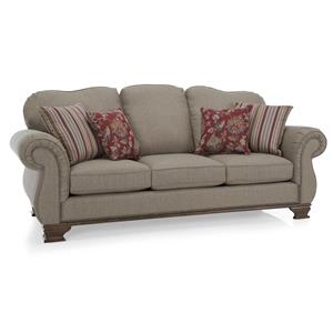 Traditional Sofa with Exposed Wood Accents
