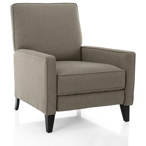 Casual Push Back Recliner with Tapered Wood Legs