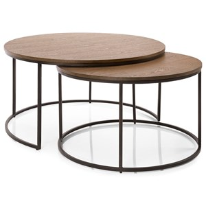 Contemporary Metal and Wood Nesting Coffee Tables