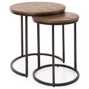 Contemporary Metal and Wood Nesting Side Tables