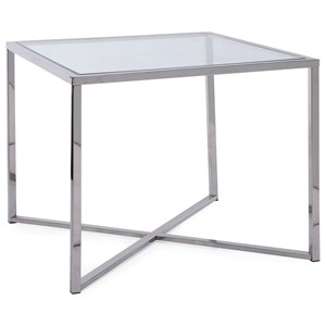 Contemporary Chrome End Table with Glass Top