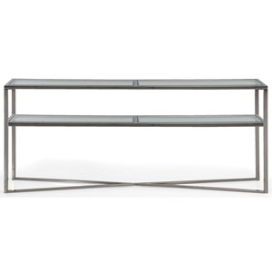 "Contemporary 70"" Chrome Console Table with Glass Shelf"