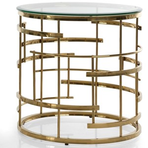 End Table with Round Glass Top