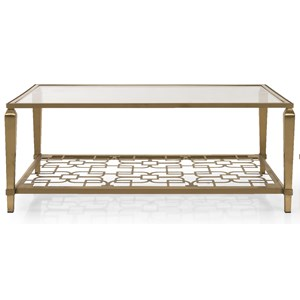 Transitional Metal and Glass Coffee Table with Shelf