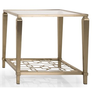 Transitional Metal and Glass End Table with Shelf