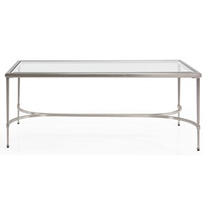 Transitional Metal Coffee Table with Glass Top