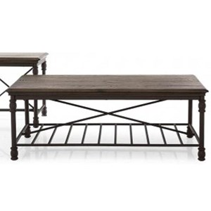 Industrial Coffee Table with One Wire Shelf