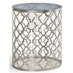 Round End Table with Patterned Metal Base