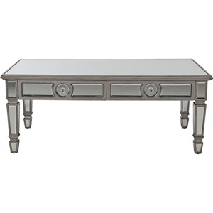 Glam Mirrored Coffee Table with Two Drawers