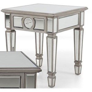Glam Mirrored End Table with One Drawer