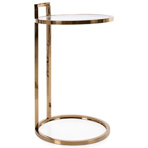 Glam Round Gold Accent Table with Glass Top