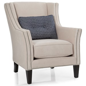 Chair with Track Arms and Nailhead Trim