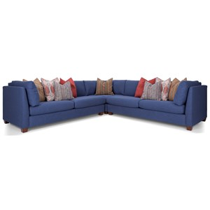 Transitional Sectional Sofa with High Track Arms