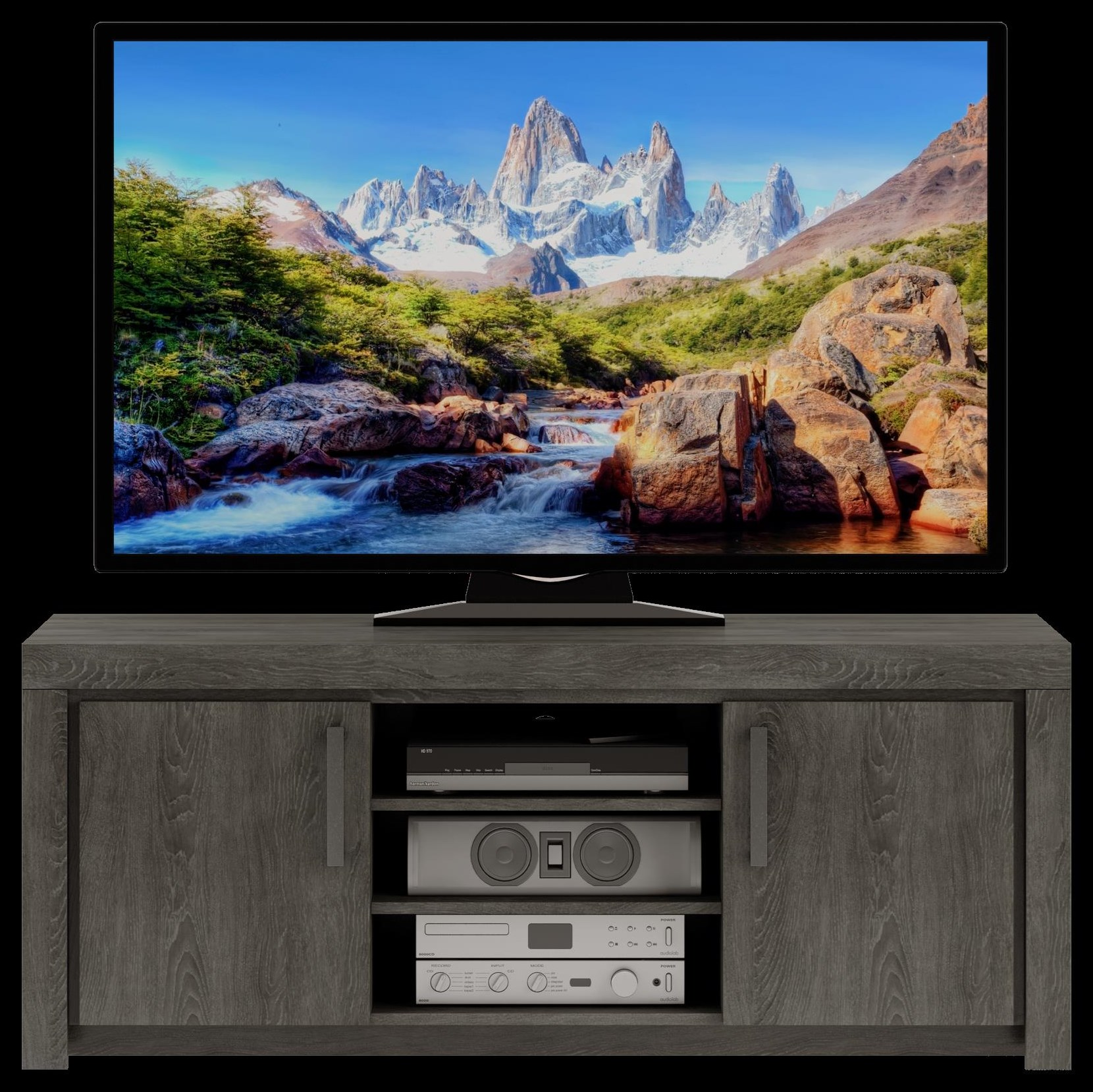 163 TV Console, Driftwood by Defehr at Stoney Creek Furniture