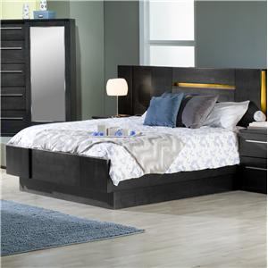 Contemporary King Platform Bed with 2 Nightstands