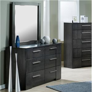 Contemporary 6 Drawer Dresser and Landscape Mirror