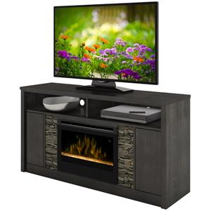 Fireplace TV Console with Faux Stone Detail