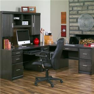 Charcoal L Shape Desk with Silver Hardware