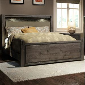 King Rustic Panel Bed with Faux Stone and Built-in Lighting