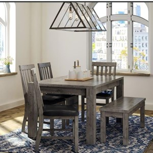 Rustic Table and Chair Set with Bench and Upholstered Chair Seats