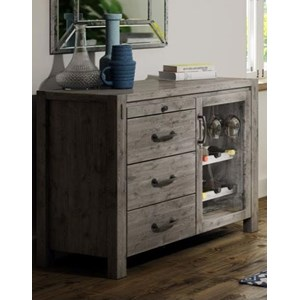 Rustic 3-Drawer Server with Wine Bottle Storage