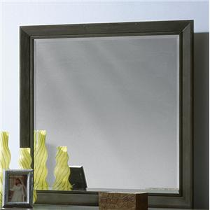 Square Beveled Mirror with Shaped Wood Frame