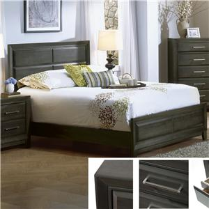 King Contemporary Panel Bed in Graphite Finish