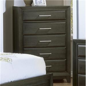 Contemporary Chest with 6 Drawers and Graphite Finish