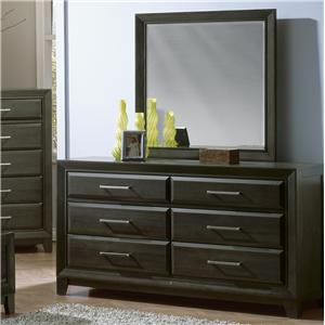 Contemporary 6-Drawer Dresser & Square Beveled-Edge Mirror