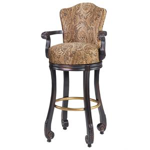 Designmaster Dining Stools Calais Carved Armed Swivel Stool