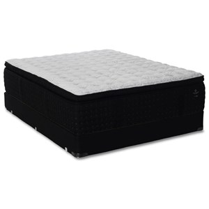 "Queen Luxury Plush Pillow Top Pocketed Coil Mattress and 5"" Geneva Black Low Profile Foundation"