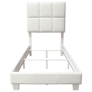Leatherette Twin Bed with Grid Tufting