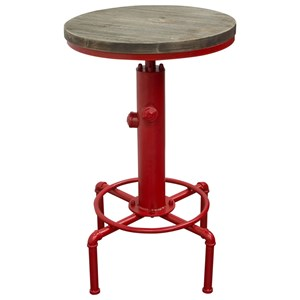 Adjustable Height Bistro Table with Round Wood Top