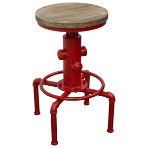 Adjustable Height Bistro Stool with Round Wood Seat