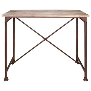 Bar Table with Wood Top and Metal Base