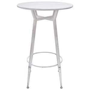 Round Metal Bar Height Table in Antique White Finish