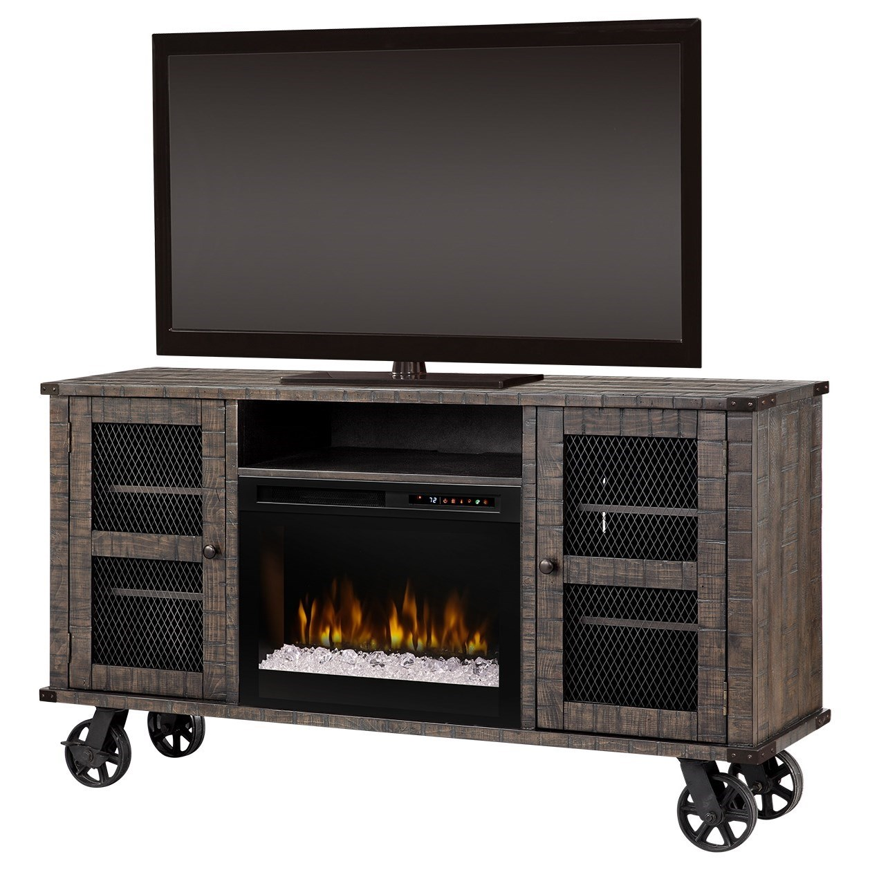 Duncan Dimplex Fireplace Media Console with Locking Wheels by Dimplex at Jordan's Home Furnishings