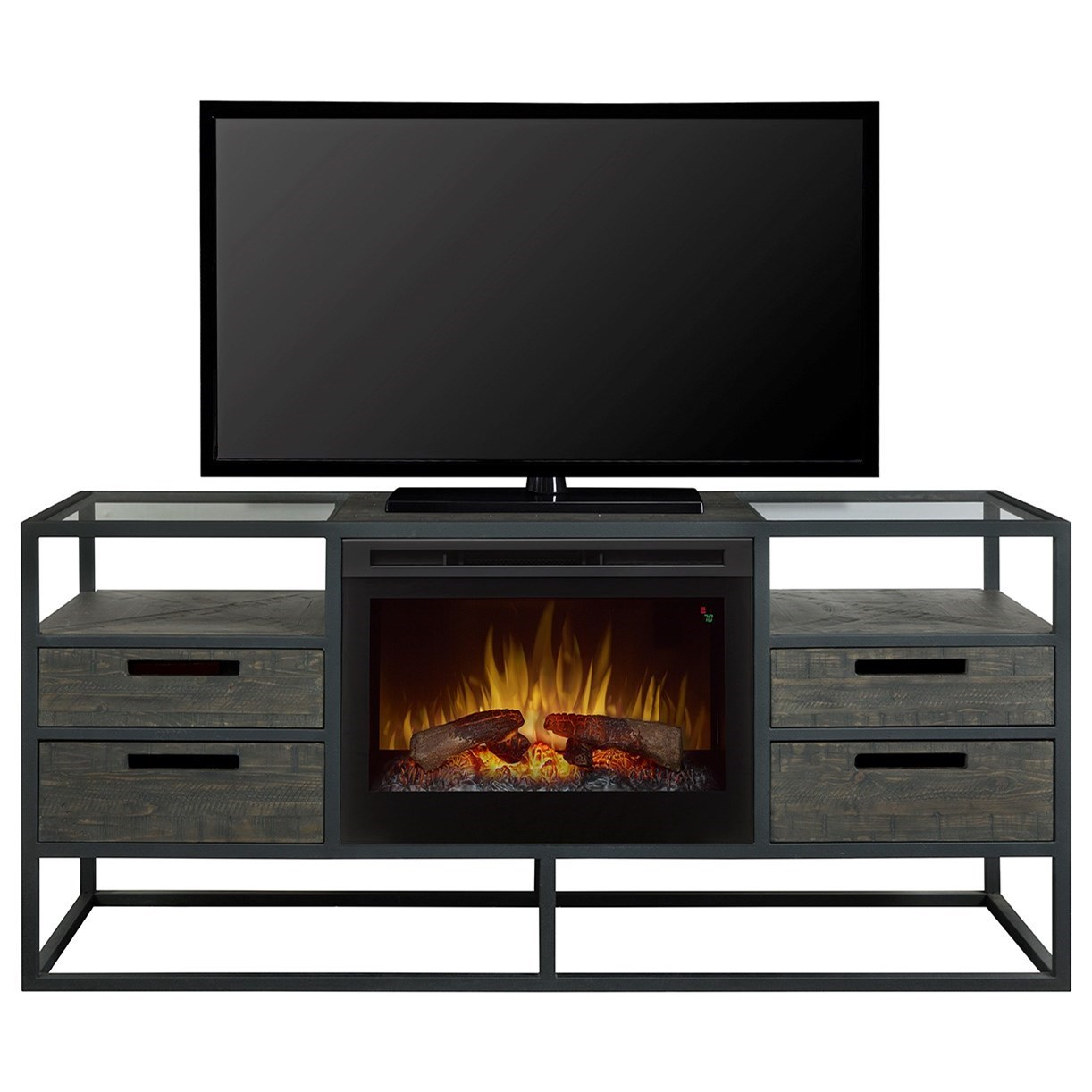 Ivan Fireplace Media Console by Dimplex at Jordan's Home Furnishings